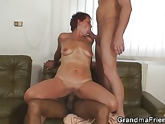 Lonely grandma gets pounded at the end of one's tether two buddies