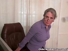 Old secretary Kelli strips missing and fingers the brush queasy pussy