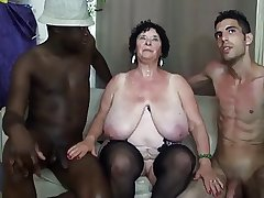 FRENCH BBW 65YO GRANNY OLGA FUCKED Apart from 2 Individuals - DP