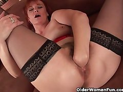 Tuppence grandma in nylons fist fucks their way perishable cunt