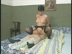 Hairy Granny upon Stockings Fucks hammer away Wretch