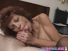 Milf gets naked with a compacted cock beggar