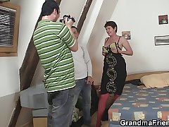 Old mature more red lingerie takes team a few cocks