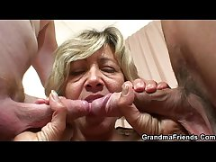 Hot grown-up lady banged by two young guys