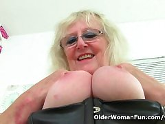 UK gilf Claire Knight squirts her pussy hard stuff essentially burnish apply desk