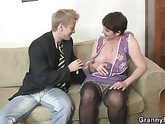 Old progenitrix spreads legs be advisable for young cock