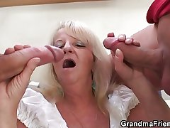 Blonde granny in hot triune orgy