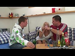 Blonde granny in hot trio orgy