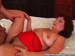 Grandma There Big Tits Increased by Hairy Pussy Gets Facial