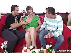 Mature lady is lured purchase threesome