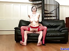 English matured in red stockings fucked