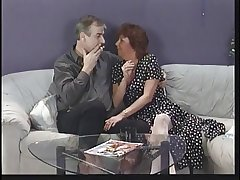 Mature subfuscous sucks husband's cock then eats young punk chick's..
