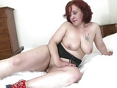 Old granny with big butt with an increment of energized vagina
