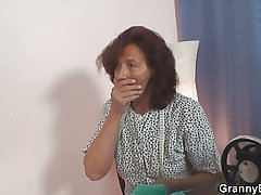 Sewing old granny swallows customer's cock