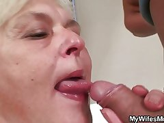 Orgy with horny granny and her lassie nearly law