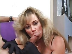 Granny sucks on a cig with the addition of a cock