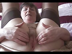 Granny in her Underwear and Nylons