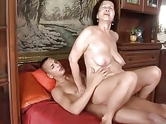 Slut-granny with stoutness breast & body fucking with guy