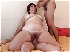 Buxom granny obtaining double-teamed
