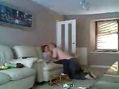 Mam and old man home alone having fun. Hidden cam