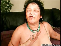 Senseless granny gets a facial