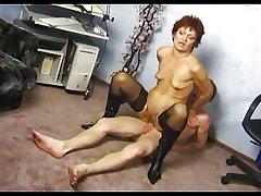 Tiny Boobs Obese Pussy Granny in Stockings Fucks