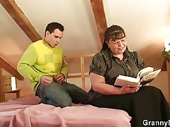 Big-busted bookworm bitch seduced making love