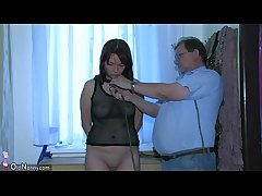 OldNanny Blue young Girl playing with papa and his superannuated chubby mature