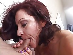Hot grown-up black-hearted masterfully sucks cock after a long time smoking a cigarette