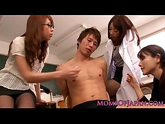 Young Japanese MILF teachers share cock